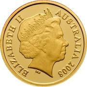 Australia Ten Dollars Kangaroo bounding in grassland 2008 P KM# 1772 ELIZABETH II AUSTRALIA 2008 coin obverse
