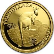 Australia Ten Dollars Kangaroo right on rocks 2010 P Proof KM# 1763 TEN DOLLARS 1/10 OZ. 9999 AU coin reverse