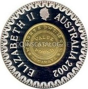 Australia Ten Dollars Mint Pattern 2003 KM# 1439 ELIZABETH II AUSTRALIA 2002 VALUE ONE POUND WEIGHTS DWT:15 OHS: 22 CARATS coin obverse