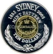 Australia Ten Dollars Mint Pattern 2003 KM# 1439 1853 SYDNEY 2003 MINT PATTERN TEN DOLLARS SYDNEY MINT AUSTRALIA ONE SOVEREIGN coin reverse