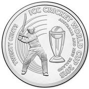 Australia Twenty Cents ICC Cricket World Cup 2015  TWENTY CENTS ICC CRICKET WORLD CUP 2015 AUSTRALIA AND NEW ZEALAND coin reverse
