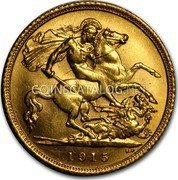 Australia 1/2 Sovereign 1/2 Sovereign George V AU 1915 1915 coin reverse