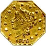 USA 1/4 Dollar Liberty Octagonal 1870 KM# 1.8 G *YEAR* coin obverse