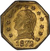 USA 1/4 Dollar Washington Head Fractional 1872 KM# 3 1972 coin obverse