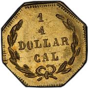 USA 1/4 Dollar Washington Head Fractional 1872 KM# 3 1/4 DOLLAR CAL coin reverse