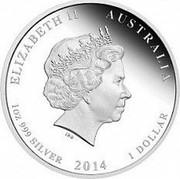 Australia 1 Dollar 100th Anniversary of Australian Red Cross 2014  ELIZABETH II AUSTRALIA 1 OZ 999 SILVER 2014 1 DOLLAR IRB coin obverse