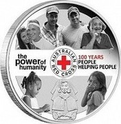 Australia 1 Dollar 100th Anniversary of Australian Red Cross 2014  THE POWER OF HUMANITY AUSTRALIAN RED CROSS 100 YEARS PEOPLE HELPING PEOPLE P coin reverse