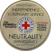 Australia 1 Dollar 100th Anniversary of Australian Red Cross (Aluminum-Bronze) 2014  UNIVERSALITY INDEPENDENCE VOLUNTARY SERVICE THE POWER OF HUMANITY AUSTRALIAN RE CROSS 100 YEAR PEOPLE HELPING PEOPLE NEURTALITY IMPARTIALITY HUMANITY UNITY P coin reverse