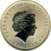Australia 1 Dollar 150th Anniversary of Banjo Paterson 2014  ELIZABETH II AUSTRALIA 2014 1 DOLLAR IRB coin obverse