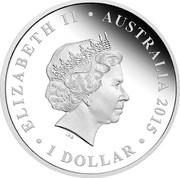 Australia 1 Dollar 75th Anniversary of WWII- The Battle of Britain 2015  ∙ ELIZABETH II ∙ AUSTRALIA 2015 ∙ 1 DOLLAR coin obverse