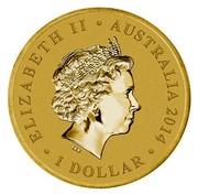 Australia 1 Dollar A Voyage to Terra Australis (Aluminum-Bronze) 2014 KM# 2162 ELIZABETH II AUSTRALIA 2014 1 DOLLAR IRB coin obverse