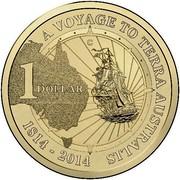 Australia 1 Dollar A Voyage to Terra Australis (Aluminum-Bronze) 2014 KM# 2162 A VOYAGE TO TERRA AUSTRALIS 1 DOLLAR 1814-2014 C coin reverse