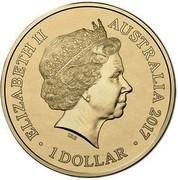 Australia 1 Dollar A War Close to Home - Coral Sea 2017  ELIZABETH II AUSTRALIA 2017 1 DOLLAR IRB coin obverse