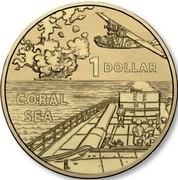 Australia 1 Dollar A War Close to Home - Coral Sea 2017  1 DOLLAR CORAL SEA coin reverse