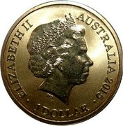 Australia 1 Dollar Alphabet Collection Coin Letter L 2015  ELIZABETH II AUSTRALIA 2015 IRB 1 DOLLAR coin obverse