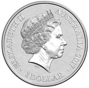 Australia 1 Dollar Alphabet Collection - Letter A (Orange) 2017  ELIZABETH II AUSTRALIA 2017 1 DOLLAR IRB coin obverse