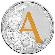 Australia 1 Dollar Alphabet Collection - Letter A (Orange) 2017  A coin reverse