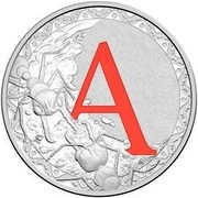 Australia 1 Dollar Alphabet Collection - Letter A (Red) 2016  A coin reverse