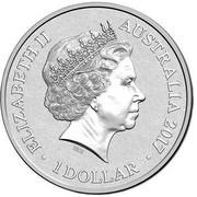 Australia 1 Dollar Alphabet Collection - Letter B (Yellow) 2017  ELIZABETH II AUSTRALIA 2017 1 DOLLAR IRB coin obverse