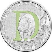 Australia 1 Dollar Alphabet Collection - Letter D (Green) 2015 D coin reverse