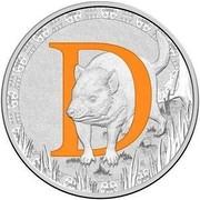 Australia 1 Dollar Alphabet Collection - Letter D (Orange) 2016  D coin reverse