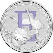 Australia 1 Dollar Alphabet Collection Letter E (Violet) 2015 E coin reverse