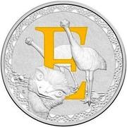 Australia 1 Dollar Alphabet Collection - Letter E (Yellow) 2016  E coin reverse