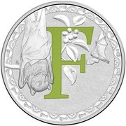 Australia 1 Dollar Alphabet Collection - Letter F (Green) 2017  F coin reverse