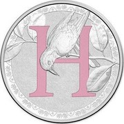 Australia 1 Dollar Alphabet Collection - Letter H (Pink) 2015 H coin reverse