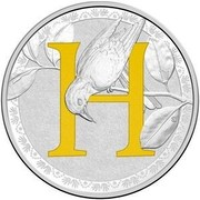 Australia 1 Dollar Alphabet Collection - Letter H (Yellow) 2017  H coin reverse