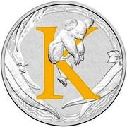 Australia 1 Dollar Alphabet Collection - Letter K (Yellow) 2016  K coin reverse