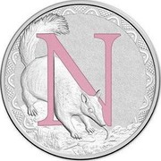 Australia 1 Dollar Alphabet Collection - Letter N (Pink) 2015  N coin reverse