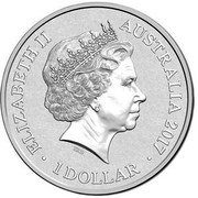 Australia 1 Dollar Alphabet Collection - Letter N (Yellow) 2017  ELIZABETH II AUSTRALIA 2017 1 DOLLAR IRB coin obverse
