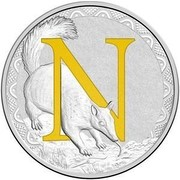 Australia 1 Dollar Alphabet Collection - Letter N (Yellow) 2017  N coin reverse
