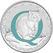 Australia 1 Dollar Alphabet Collection - Letter Q (Blue) 2017  Q coin reverse
