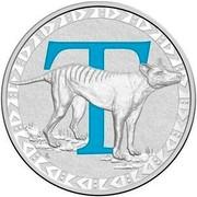 Australia 1 Dollar Alphabet Collection - Letter T (Blue) 2016  T coin reverse