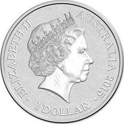 Australia 1 Dollar Alphabet Collection - Letter T (Pink) 2015 ELIZABETH II AUSTRALIA 2015 1 DOLLAR IRB coin obverse