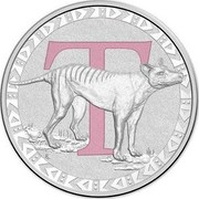 Australia 1 Dollar Alphabet Collection - Letter T (Pink) 2015 T coin reverse