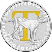 Australia 1 Dollar Alphabet Collection - Letter T (Yellow) 2017  T coin reverse