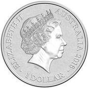Australia 1 Dollar Alphabet Collection - Letter W (Yellow) 2016  ELIZABETH II AUSTRALIA 2016 1 DOLLAR IRB coin obverse