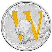 Australia 1 Dollar Alphabet Collection - Letter W (Yellow) 2016  W coin reverse