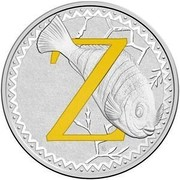 Australia 1 Dollar Alphabet Collection - Letter Z (Yellow) 2017  Z coin reverse