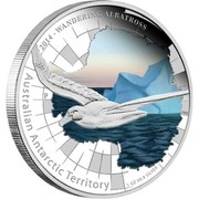 Australia 1 Dollar Australian Antarctic Territory Series - Wandering Albatross 2014 KM# 2182 2014 - WANDERING ALBATROSS AUSTRALIAN ANTARCTIC TERRITORY 1 OZ 99.9 SILVER P NM coin reverse