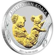 Australia 1 Dollar Australian Koalas (Gilded) 2011 AUSTRALIAN KOALA 2011 1 OZ 999 SILVER P EM coin reverse