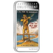 Australia 1 Dollar Australian Posters of World War I - Enlistment 2014  AUSTRALIAN ENLISTMENT A CALL FROM THE DARDANELLES COO-EE-WON'T YOU COME? ENLIST NOW P 1 OZ 999 SILVER coin reverse
