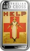 Australia 1 Dollar Australian Posters of World War I - Red Cross 2015  AUSTRALIAN RED CROSS HELP P 1 OZ 999 SILVER coin reverse