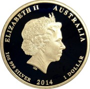 Australia 1 Dollar Centenary of Australian Submarines 2014  ELIZABETH II AUSTRALIA 1 OZ 999 SILVER 2014 1 DOLLAR IRB coin obverse