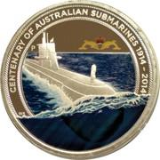 Australia 1 Dollar Centenary of Australian Submarines 2014  CENTENARY OF AUSTRALIAN SUBMARINES 1914-2014 P WR coin reverse