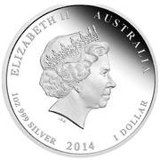 Australia 1 Dollar Declaration of War 2014 KM# 2167 ELIZABETH II AUSTRALIA 1 OZ 999 SILVER 2014 1 DOLLAR IRB coin obverse