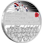 "Australia 1 Dollar Declaration of War 2014 KM# 2167 1914~""WHEN THE EMPIRE IS AT WAR, SO IS AUSTRALIA AT WAR"" P WR coin reverse"